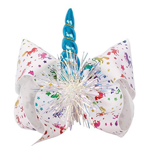TOUSHIUHUS Haarschmuck Haarschleifen Für Mädchen Große Haarschleifen Clips Mit Horn 7 Zoll Einhorn Print Grosgrain Ribbon Kids Hairgrips 5