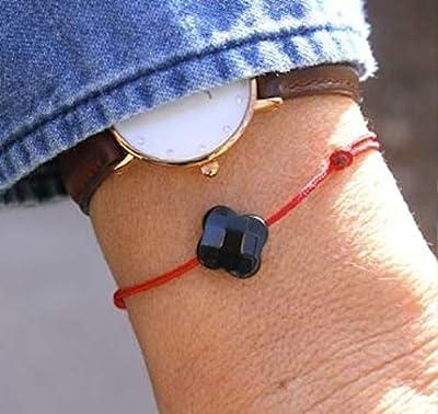 Bracelet cordon au choix trèfle noir pour femme