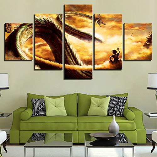 QJXX Drucke Auf Leinwand 5 Stück Moderne Gemälde Goku Dragon Wandkunst Bilder Wohnkultur Für Wohnzimmer Dragon Ball Kein Rahmen Nur Leinwand,C,30 * 40 * 230 * 60 * 230 * 80 * 1 (Bilder Dragon Von)