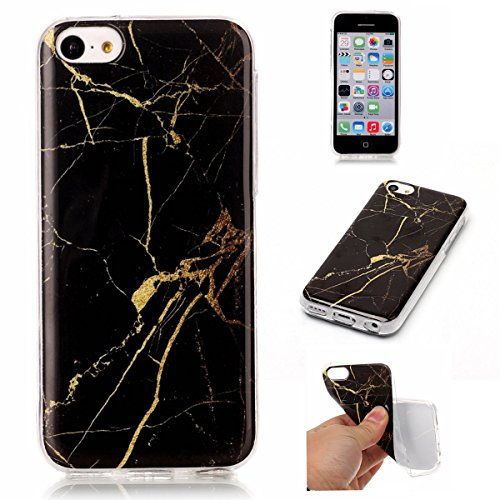 iPhone 5C Hülle Marmor, iPhone 5C Marble Case,iPhone 5C Weich Silikon Handyhülle,Lifetrut Marmor Design Soft Rückseite Stoßstange TPU Gummi Silikon Skin Tasche für iPhone 5C [Rauch] E202-Schwarz