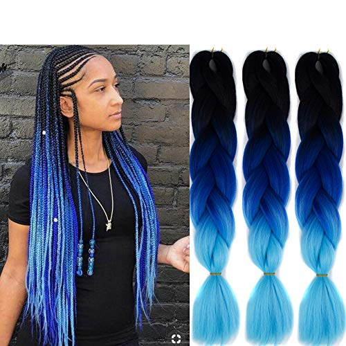 6 Packs Eunice Hair Jumbo Flechten Hair Extensions Ombre Blue Colorful Kunsthaar Kanekalon Haar für Heimwerker Crochet Box Zöpfe Ombre 3 Tone Color 100 g/pcs 61 cm (Black-blue)