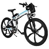 Mymotto Bicicleta de montaña plegable, 26 pulgadas, eléctrica (hasta 25 km/h), con batería...