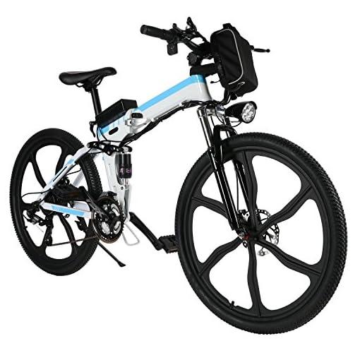 Bici Pieghevole In Alluminio.Aceshin Bicicletta Pieghevole Elettrico 26 Mountain Bike Bianco Lega
