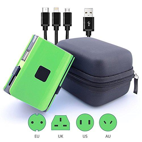 Weltweit Adapter Universal Travel Adapter mit USB Lade-Port [UK EU US aus], international Plug, Bonus Fall und Nylon geflochten 3in 1USB-Kabel, andere Farben erhältlich von Azara (Para Camaras Iphone)