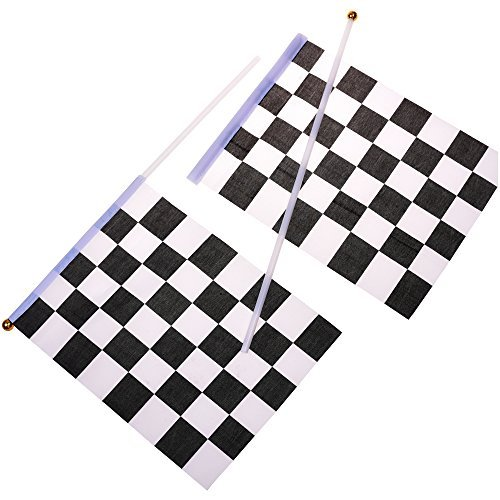 Checkered Flag Stick (Kloud City Ã'® 20 Pcs 8'' x 6'' Checkered Flag Racing Polyester Flags on Plastic Stick by KLOUD City)