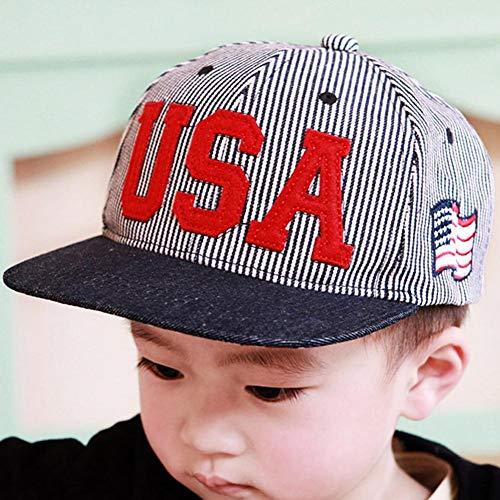 Yestter Flache Hysteresenkappen Der Kinder Jungen Mädchen Tweed-Kappen-Baseballmützen Amerikanische Flagge USA-Denim Gestreiftes Visier Der Kinder Viktorianisches Jungenkostüm -