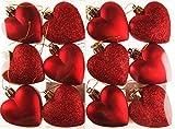 Set di 12palline glitter cuori albero di Natale Decorazioni Red