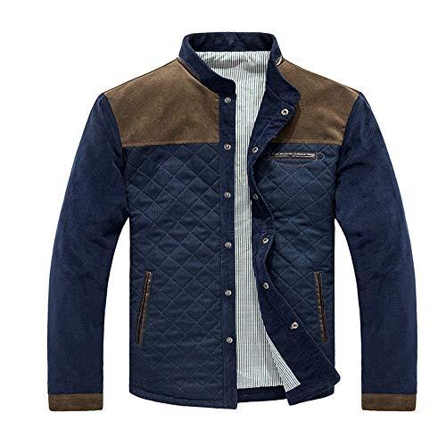 BEIXUNDIANZI Diamond Quilt Leather Jacket Herren Langarm Strickjacke Lässiges Sweatshirt mit Stehkragen Schmale Taschenjacke Herbst und Winter Herren Reißverschluss C-Coffee L -