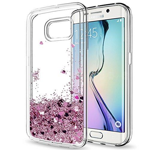 LeYi Coque Galaxy S6 Edge avec Film de Protection écran, Fille Personnalisé Liquide Paillette Flottant Transparente 3D Silicone Gel TPU Antichoc Kawaii Étui pour Samsung S6 Edge G925F Or Rose
