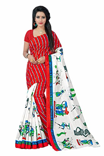 Jaanvi Fashion Women's Crepe Saree With Blouse Piece (Figure-Prints-Red_Red)