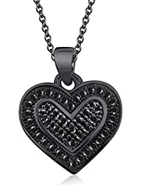 Silvernshine Dual Heart Pendant Necklace With Sim Black Diamond Accents 14K Black Gold Plated