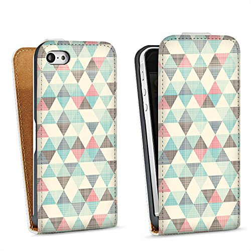 Apple iPhone 5c Housse Étui Protection Coque Triangles rétro Motif Motif Sac Downflip blanc