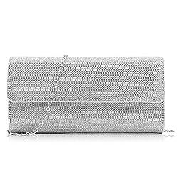 Milisente Women Clutch Bag Elegant Sequins Evening Clutch Purse Chain Shoulder Bags (Silver)