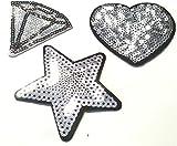 b2see Strass Glitzer Aufnäher Patches Applikationen mit Strass Pailletten Glitzer zum aufbügeln 3 er Set Silber Stern Diamant und Herz je ca 7 cm