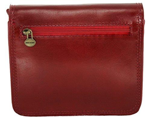 CTM Frauen Umhängetasche Aktentasche, 20x17x6cm, 100% echtes Leder Made in Italy Rot