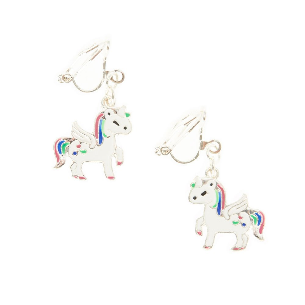 Claire's Magical Unicorn Drop Clip On Earrings for Girls, Silver Tone with White/Purple/Green/Blue, 1 Pair