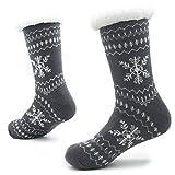 CityComfort Hausschuhe Slipper-Socken für Herren mit Sherpa-Wollschicht-Bettpantoffeln für den Menschen Rutschfeste norwegische Muster 41-44 (Graue weiße Schneeflocken)