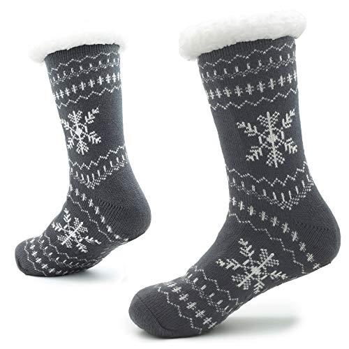 Calcetines Hechos Punto de la Zapatilla para los Hombres con los Deslizadores de la Cama de la Capa de Las Lanas para el Modelo Noruego del resbalón del Hombre 41-46 (Copos de Nieve Blancos Grises)