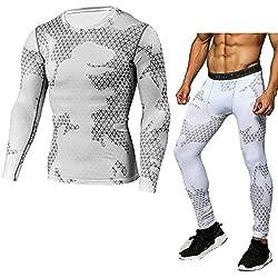 ZhuiKun Compresión Leggings Hombre Apretadas Deportes Pantalones & Thermal Camiseta Manga Larga L