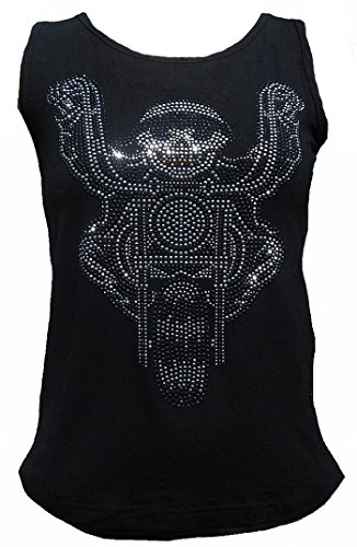 Rockabilly Punk Rock Baby Damen Lady Stretch Tank Top Shirt Schwarz Black BIKER SKULL Strass Diamante Designer Tattoo Teil XXL 48/50 (Rock Baumwolle Womens Designer)