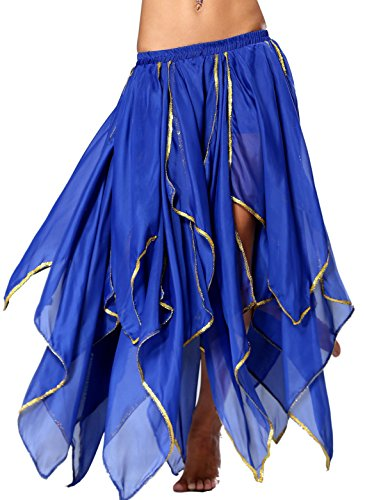 Seawhisper 16 Stammes-Bauchtanz chiffon tiered Kleid Bauchtanz Rock Seitennaht glänzende (Kostüme Dance Pailletten Kleid)