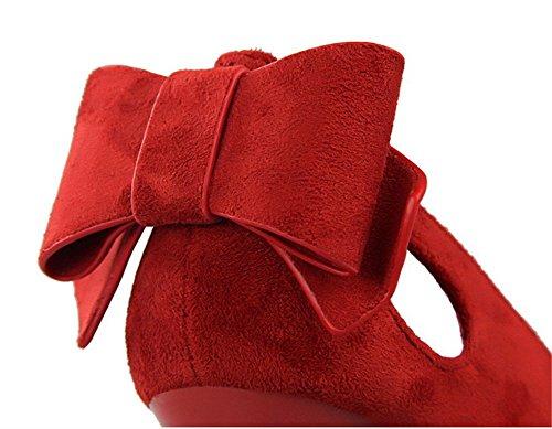 Wealsex Escarpin suédé Noeud Bout Pointu Talon Haute Aiguille 10.5 CM Chaussure Soirée Mariage Club Mode Sexy Femme Rouge