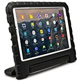 Samsung Galaxy Tab A 10.1 Funda de niños, COOPER DYNAMO Funda dura protectora para choques y uso pesado para niños con agarre de mano, estante trasero y protector de pantalla incluido (Negro)