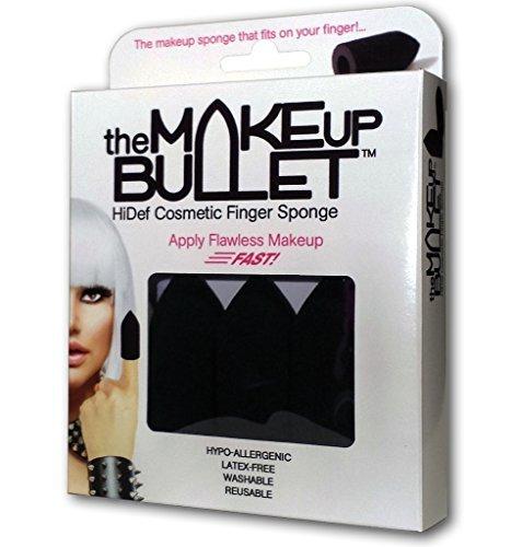The Makeup Bullet™ Finger Sponge (Black, 3-Pack) - The Most Versatile Makeup Sponge - Washable, Reusable, Used Wet or Dry, Latex-Free