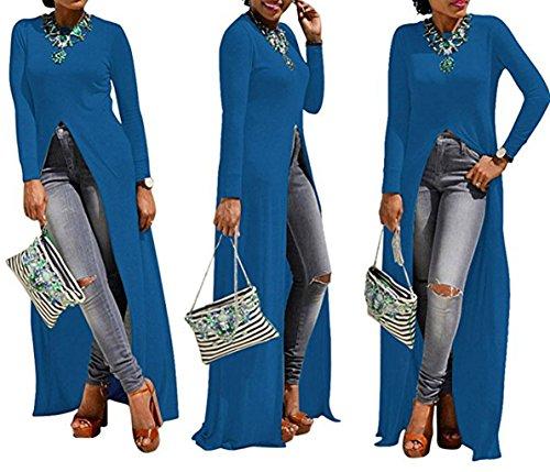 Donna Maxi Abito con Anteriore Aprire la Forcella in Alto Maglie a Manica Lunga Abiti Casual Tunica Vestito Lunga Bluse Camicie T-shirt Top Blu