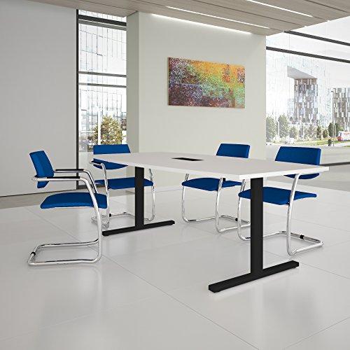 EASY Konferenztisch Bootsform 200x100 cm Weiß mit Elektrifizierung Besprechungstisch Tisch, Gestellfarbe:Anthrazit