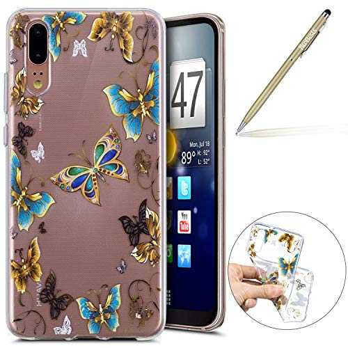 Kompatibel mit Handy Tasche Huawei P20 Silikon Hülle Durchsichtige Schutzhülle Crystal Clear Transparent Ultra Dünn Handyhülle Silikonhülle Kristall Klar TPU Bumper,Blau Schmetterling