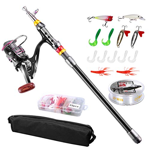 Angelrute Teleskoprute Combo Full Kit, Fishing Rod, FishOaky 2.1M Carbon Fiber Angelruten Angeln Rute Pole Set mit 100 m Line Kunstköder Haken und Angeln Tasche Fall für Kinder & Erwachsene -