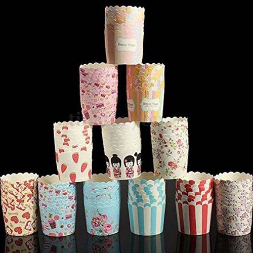 Ancdream Größe M 100 Stück gemischte bunte Papierkuchen Liner Tasse Cupcake Muffin backen