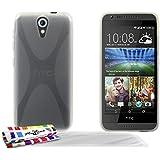 Muzzano F1409130 - Funda para HTC Desire 620 + 3 protecciones de pantalla, transparente