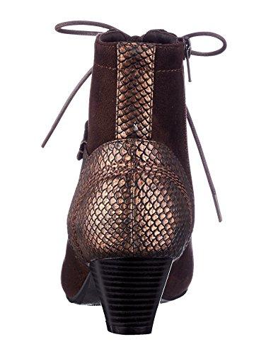 Damen Schnürstiefelette mit variablem Verschlusssystem by Liva Loop Braun/Bronze