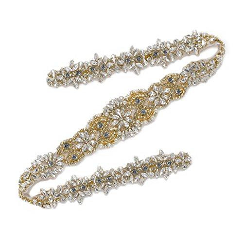 SWEETV Luxus Hochzeit Gürtel Strass Schärpen Kristall Kleid zusätzlich Perlen Schärpe Eisen auf...