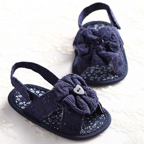 Igemy 1 Paar Baby Blumen Sandalen Kleinkind Prinzessin erste Wanderer Mädchen Kinder Schuhe Dunkelblau