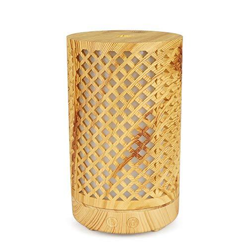 Luoxiu 100ml Holzmaserung Ätherisches Öl Diffusoren Ultraschall-Luftbefeuchter mit Cool Mist 7 Farbwechsel LED-Lichter, Wasserlose Auto Off Luftreiniger,Brown (Ultraschall-öl Diffusoren)