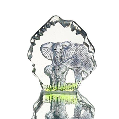 H&D Kristall Elefant Statue Laser geätzt Kristall Animal Figuren Sammlerstück Briefbeschwerer Home Decor Creative Geschenk Tisch Decor (Figuren Sammlerstücke Elefanten)