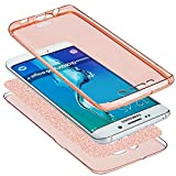 Coque Galaxy S8,Etui Galaxy S8,Galaxy S8 Case,Intégral 360 Degres avant + arrière Full Body Protection Bling Brillant Glitter Transparent Silicone Gel Case Coque Housse Etui pour Galaxy S8,Or rose