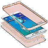 Galaxy S8 Hülle,Galaxy S8 Schutzhülle,ikasus Full-Body 360 Grad Bling Glänzend Glitzer Klar Durchsichtige TPU Silikon Hülle Handyhülle Tasche Case Front Back Cover Schutzhülle für Galaxy S8,Rose Gold