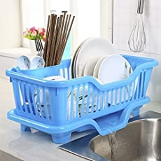 4square 3 in 1 Multi Kitchen Sink Dish Drainer Drying Rack (Blue, 45X24X14cm)