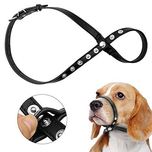 Hunde Maulkorb, Haustier Hund Leder reflektierende einstellbare Schleife Biss Bark Control Easy Fit Hundekopf Kragen Maulkorb, schwarz,L