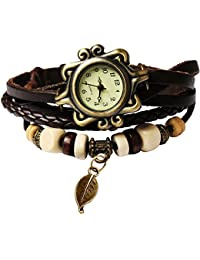 215f169c18b5 Estilo de Bohemia Retro  de piel hecho a mano árbol hojas  reloj de  pulsera. Beautiful