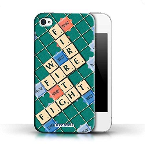 Kobalt® Imprimé Etui / Coque pour Apple iPhone 4/4S / Ignorance Béatitude conception / Série Mots de Scrabble Lutte Incendie
