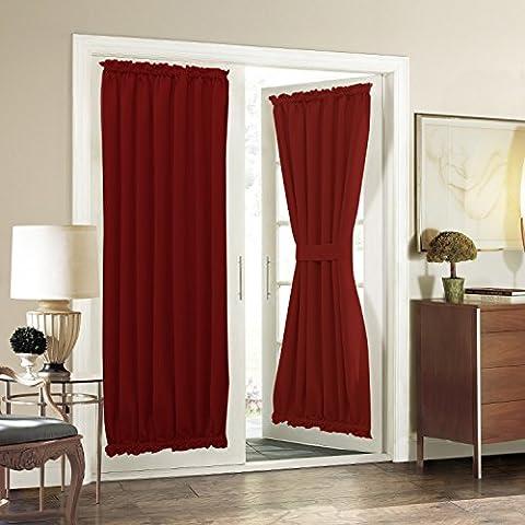 Aquazolax occultant French Rideau de panneau de porte, Tissu, rouge bordeaux, 54