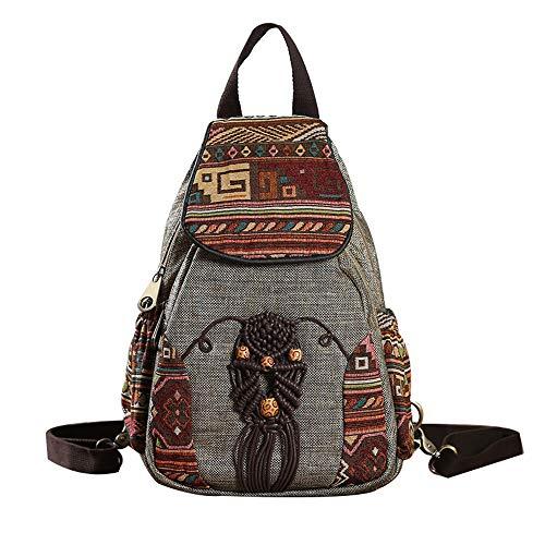 Yazi NeuVintage Ethno Rucksack Classic Canvas Damen Daypack Lässig Reise Backpack Damentaschen Schultasche