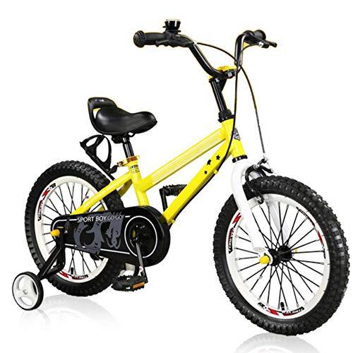 YUMEIGE Kinderfahrräder Kinderfahrräder mit Stützrädern Freestyle-Fahrrad mit Kompass Bell Rennräder 14 Zoll Geeignet für 3-5 Kinder Jahre Gelb - Bell Fahrrad-kette