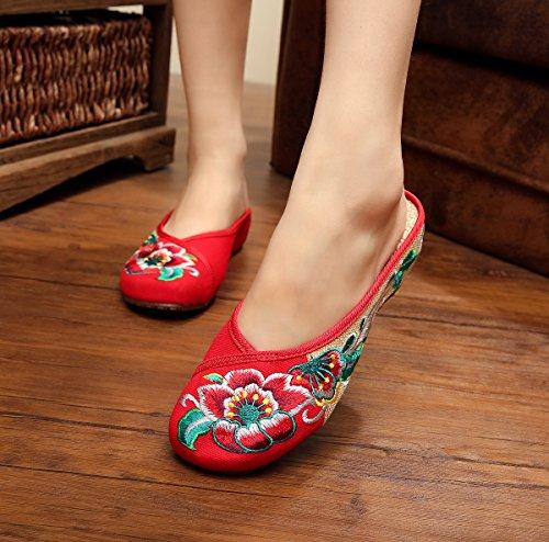 &hua Feine gestickte Schuhe, Sehnensohle, ethnischer Stil, weiblicher Flip Flop, Mode, bequem, Sandalen Red