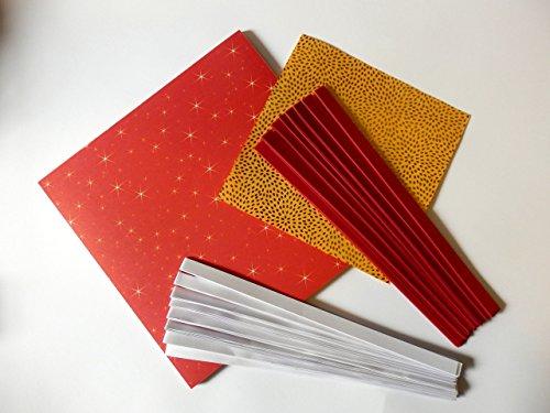 2er Stern Bastel Set Faltblätter Faltpapier Stern und 80 Fröbelsternstreifen rot weiß